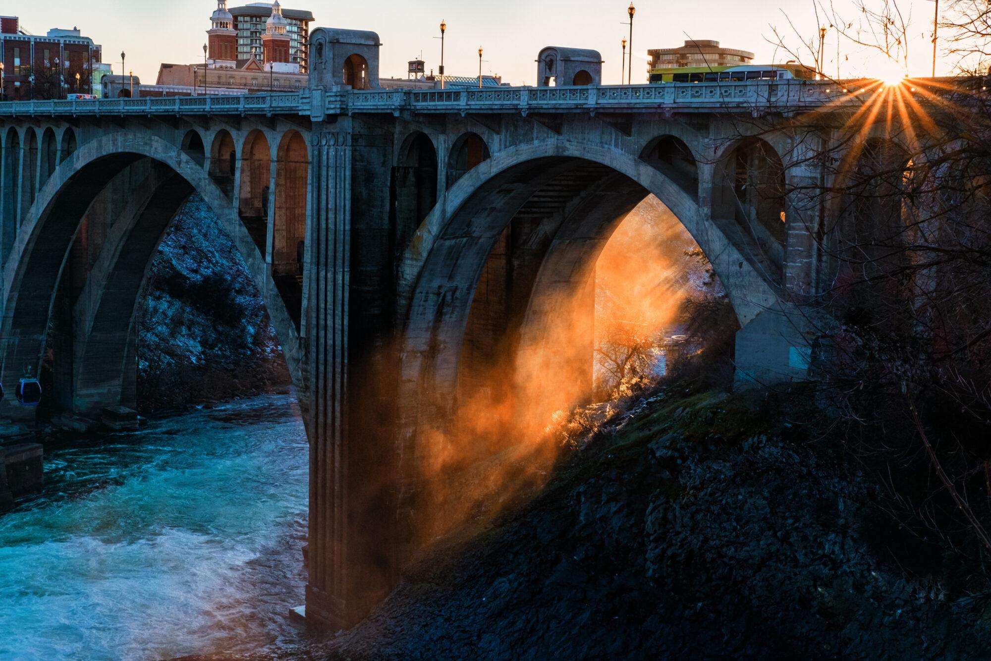 Downtown Spokane River Bridge at Sunset