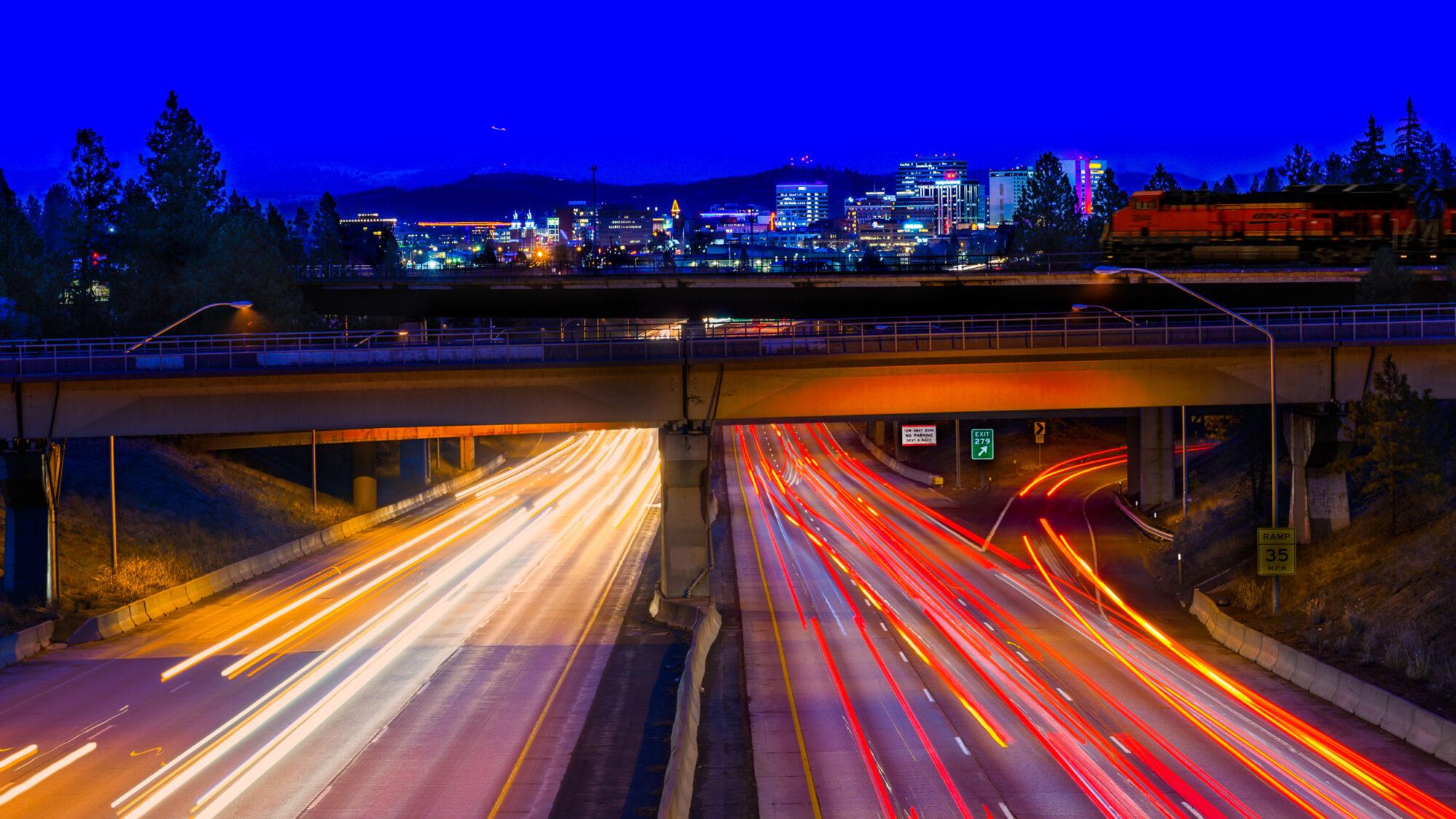 Driving into Spokane Freeway at Night