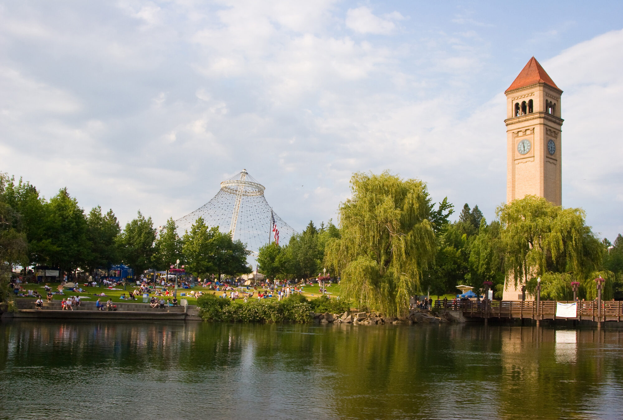 Downtown Spokane Clocktower and Pavilion during event