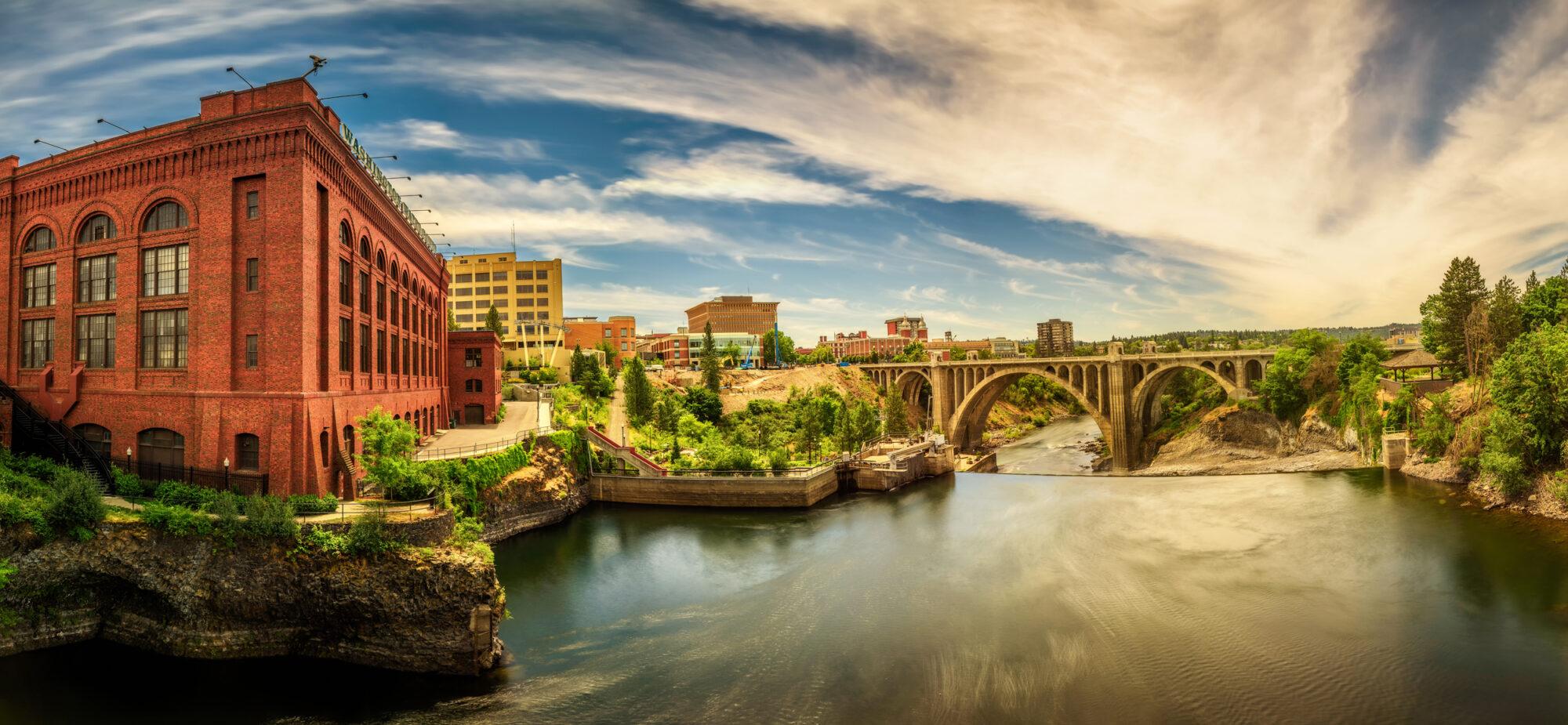 Artistic Downtown Spokane River