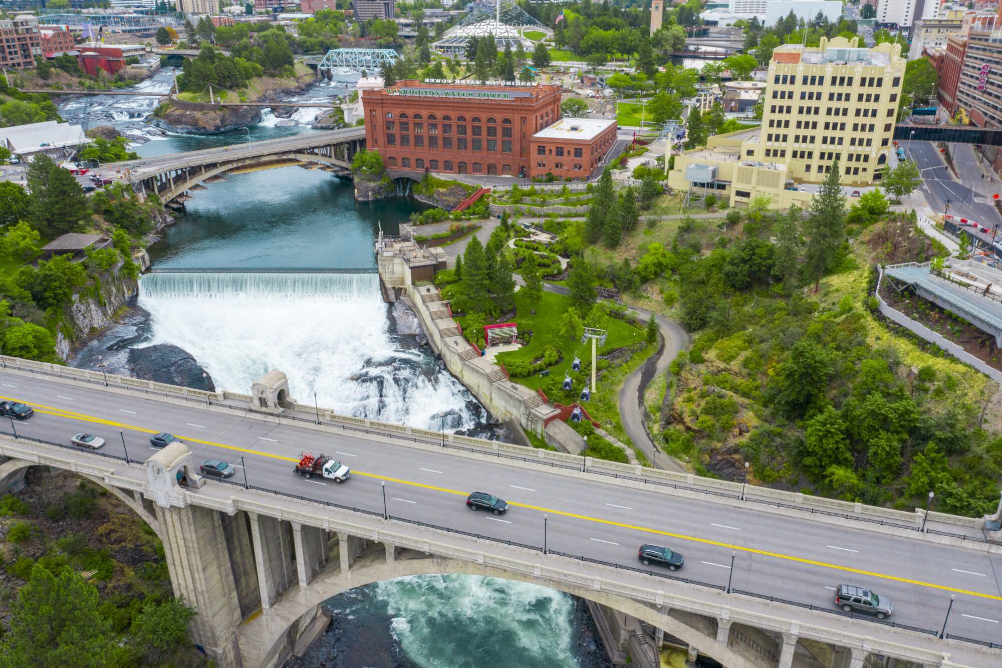 Downtown Spokane River Waterfall Aerial