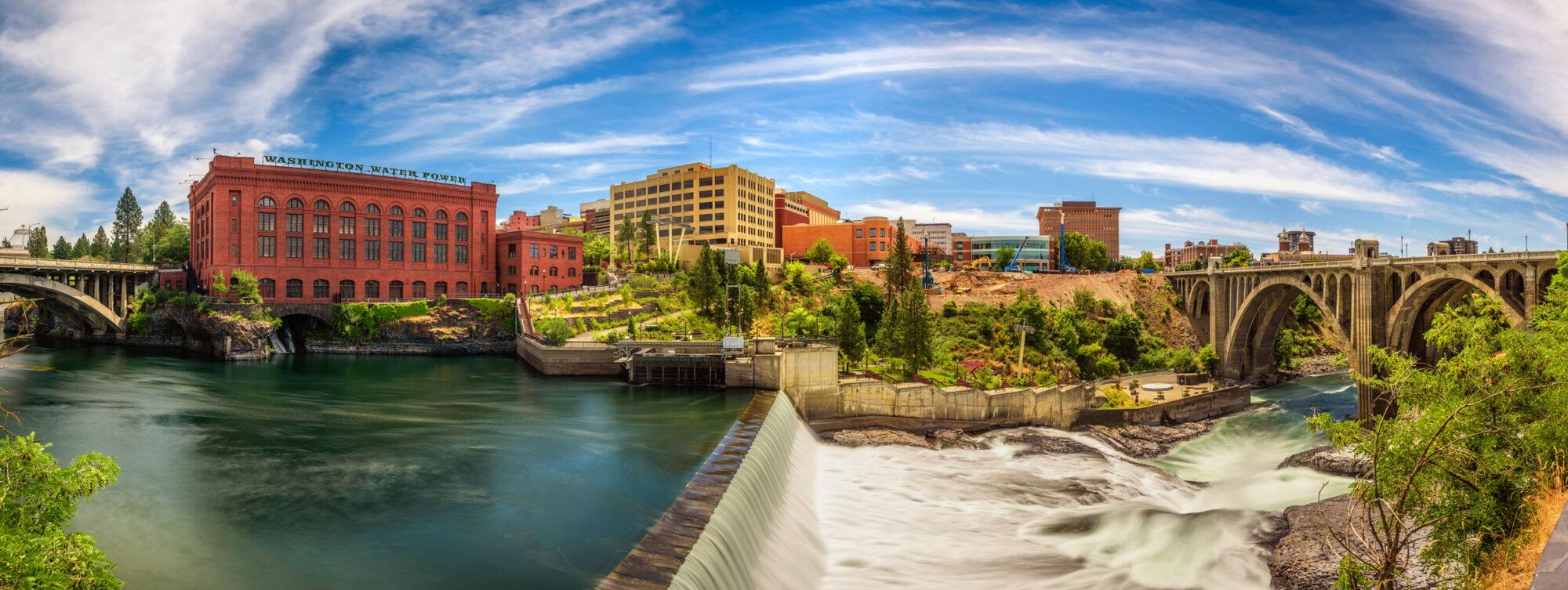 Downtown Spokane River Panorama