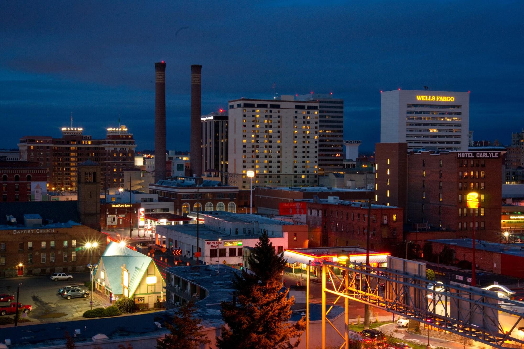 Downtown Spokane at Night with Smokestacks