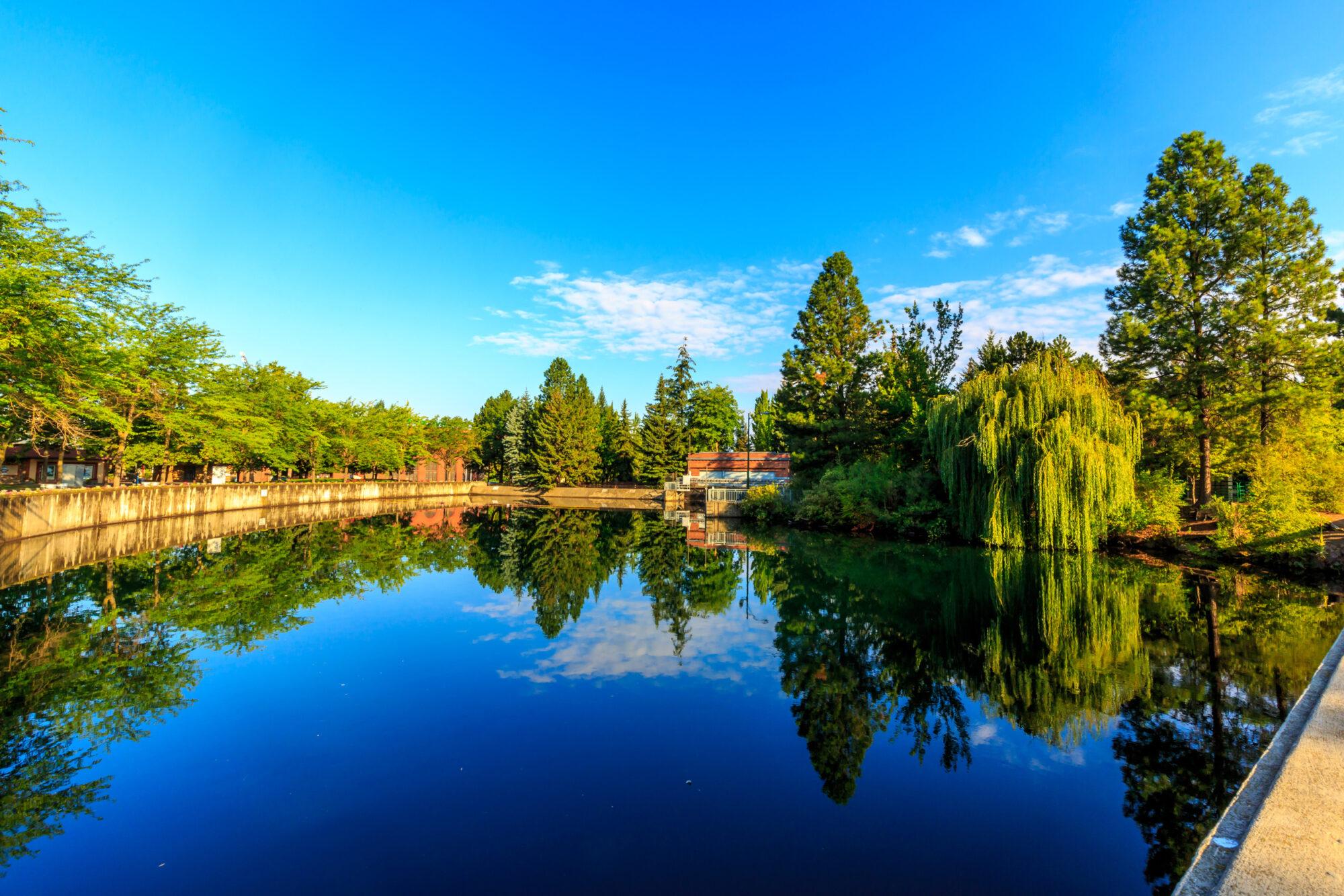 Downtown Spokane River Still Water